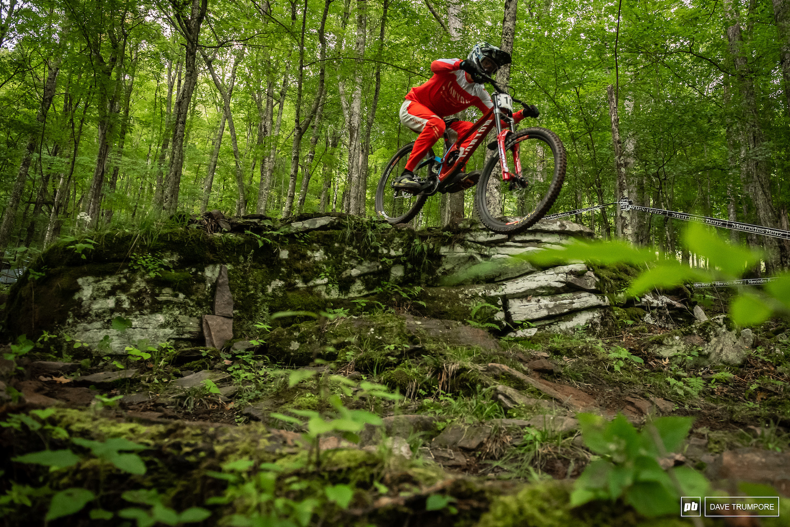 Mark Wallace wearing the opposite of camouflage in the lush green West Virginia Forest
