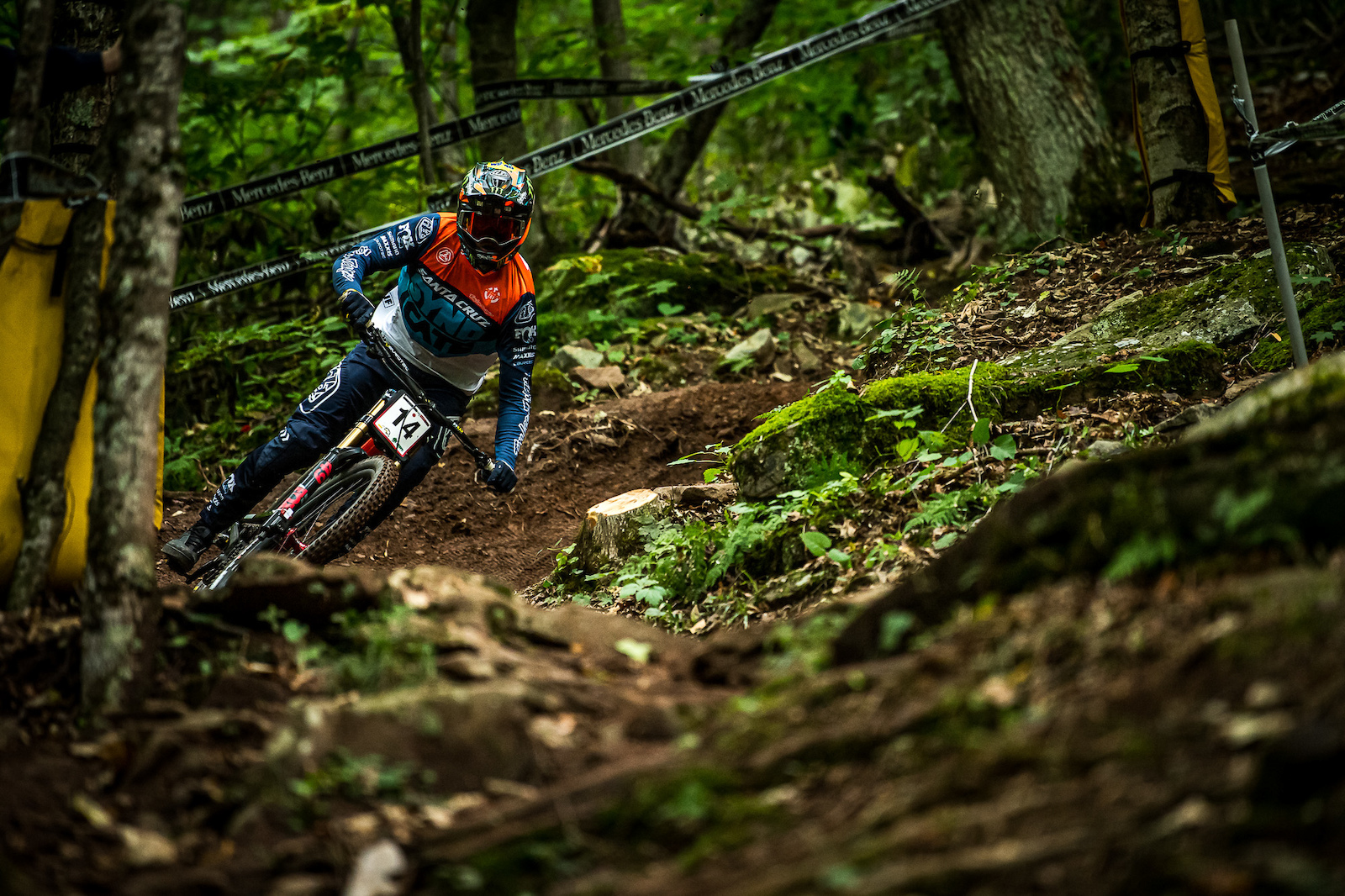 Luca Shaw getting up to speed deep in the forest.