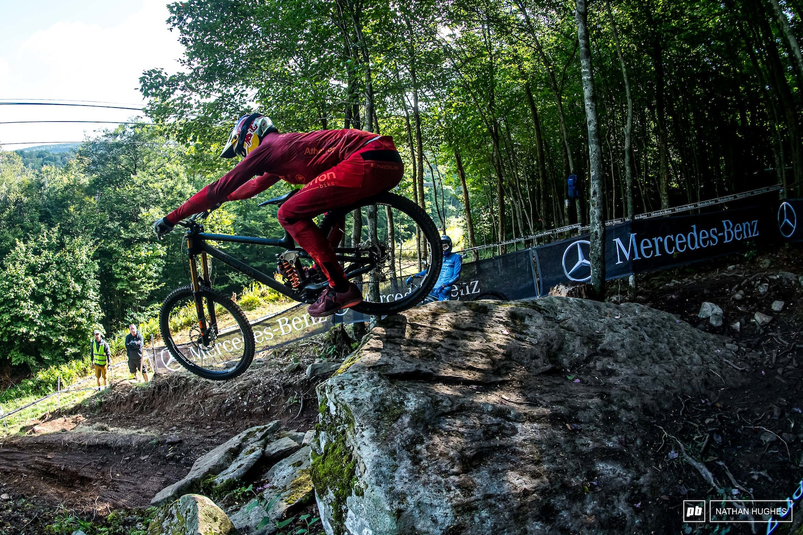 Atherton stretching to the absolute limit off the first rock of the double drop.