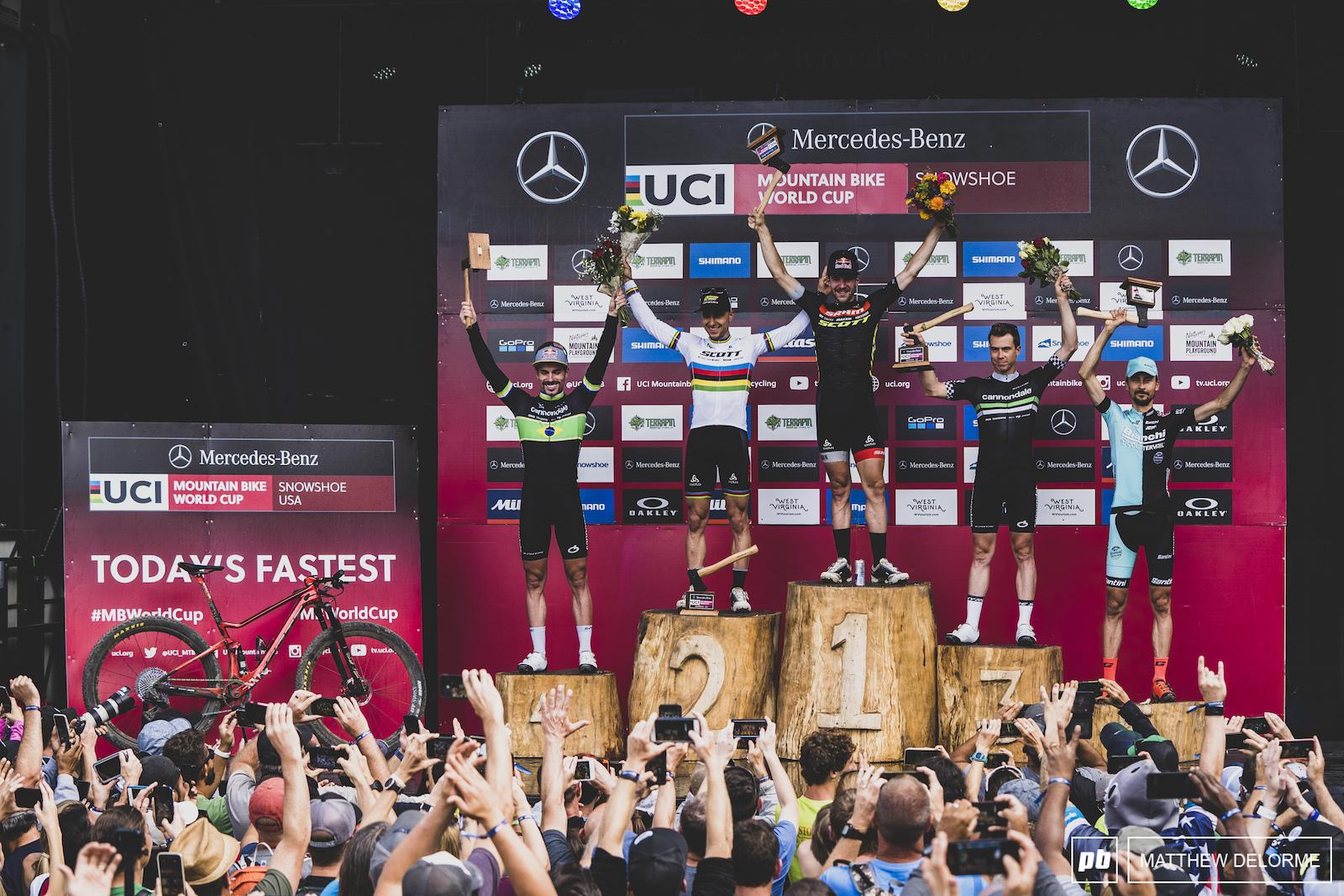 Lars Forster Nino Schurter Maxime Marotte Henrique Avanacini and Stephane Tempier - men elite winners.