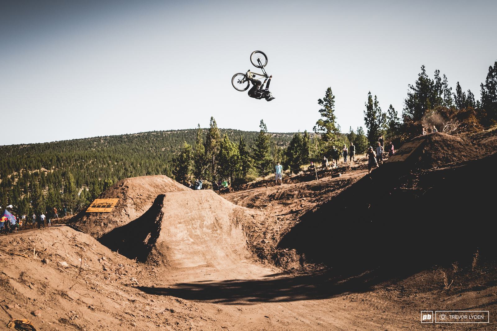 Alex Volokhov with an insane backflip over the canyon gap .