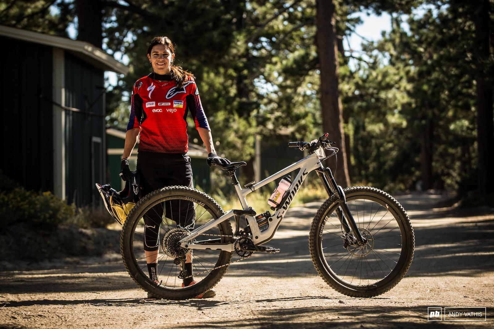 Anneke Beerten with her brand new Enduro.