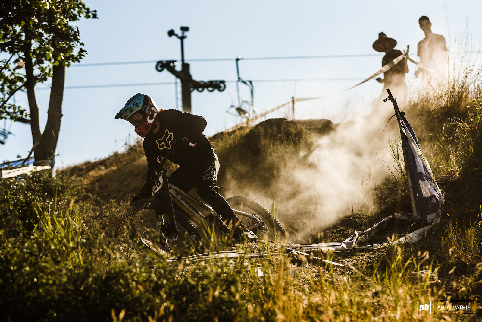 Brett Rheeder trying his hand at downhill racing. His biggest adjustment was a bike setup with actual suspension sag.