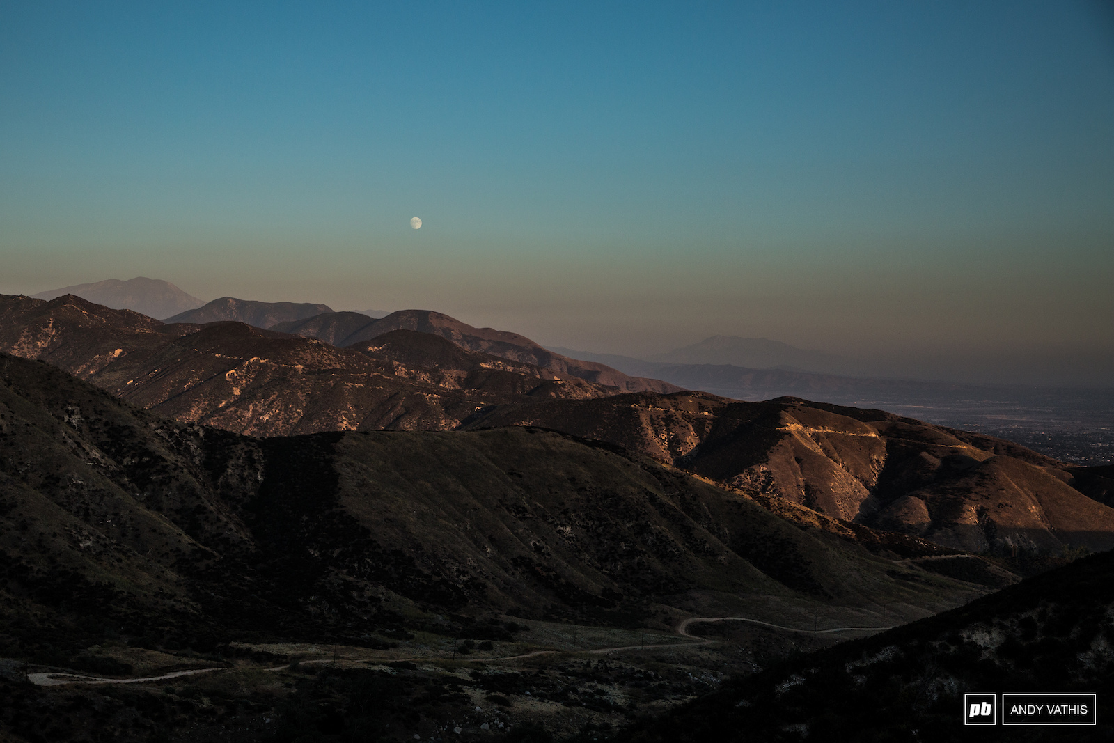 Moonrise over the Cali tundra. One more sleep until the going gets hot and dry.