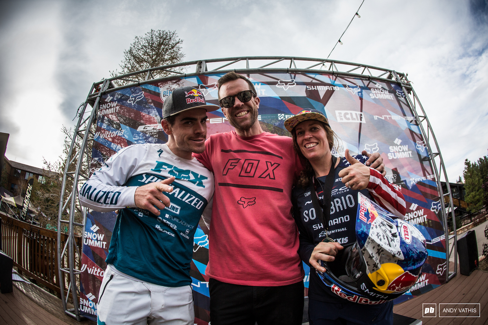 Jill Kintner and Loic Bruni with Mr. US Open himself Clay Harper.