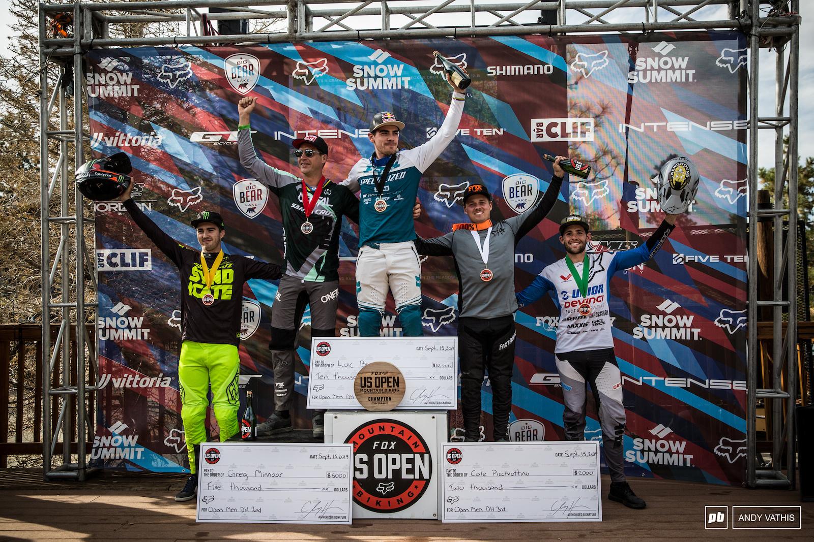 Loic Bruni Greg Minnaar Cole Picchiottino Luca Shaw and Dakotah Norton close out the Men s Open podium.