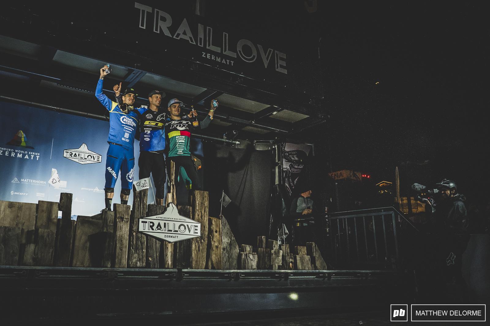 Matin Maes Sam Hill and Richie Rude. Your Zermatt winners.