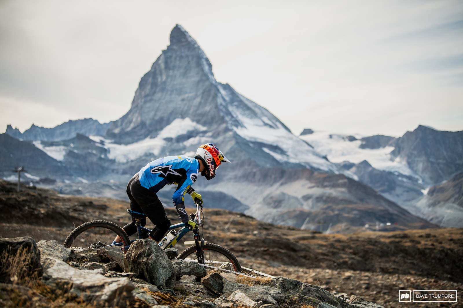 Martin Maes under the Matterhorn on stage 4