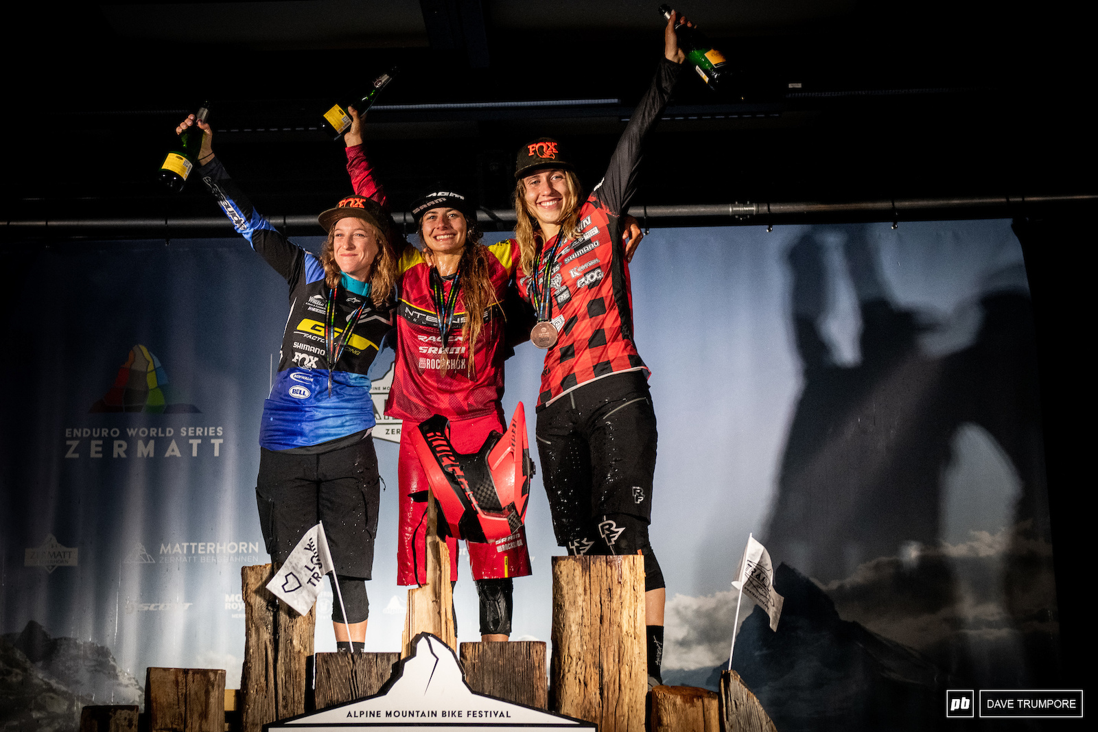 The top three women in the Series standings. Isabeau Courdurier Noga Korem and Andreane Lanthier-Nadeau