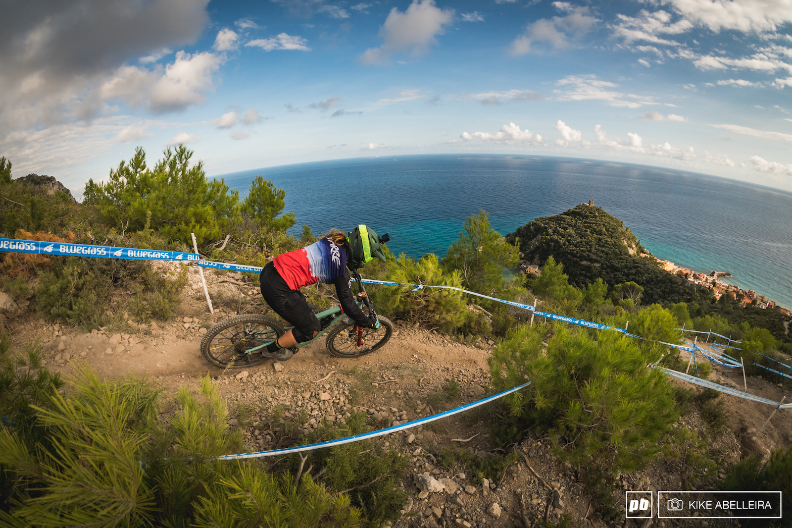 TON Finale ligure 2019 Second woman for team France Morgane Charre making her way down to Varigotti.
