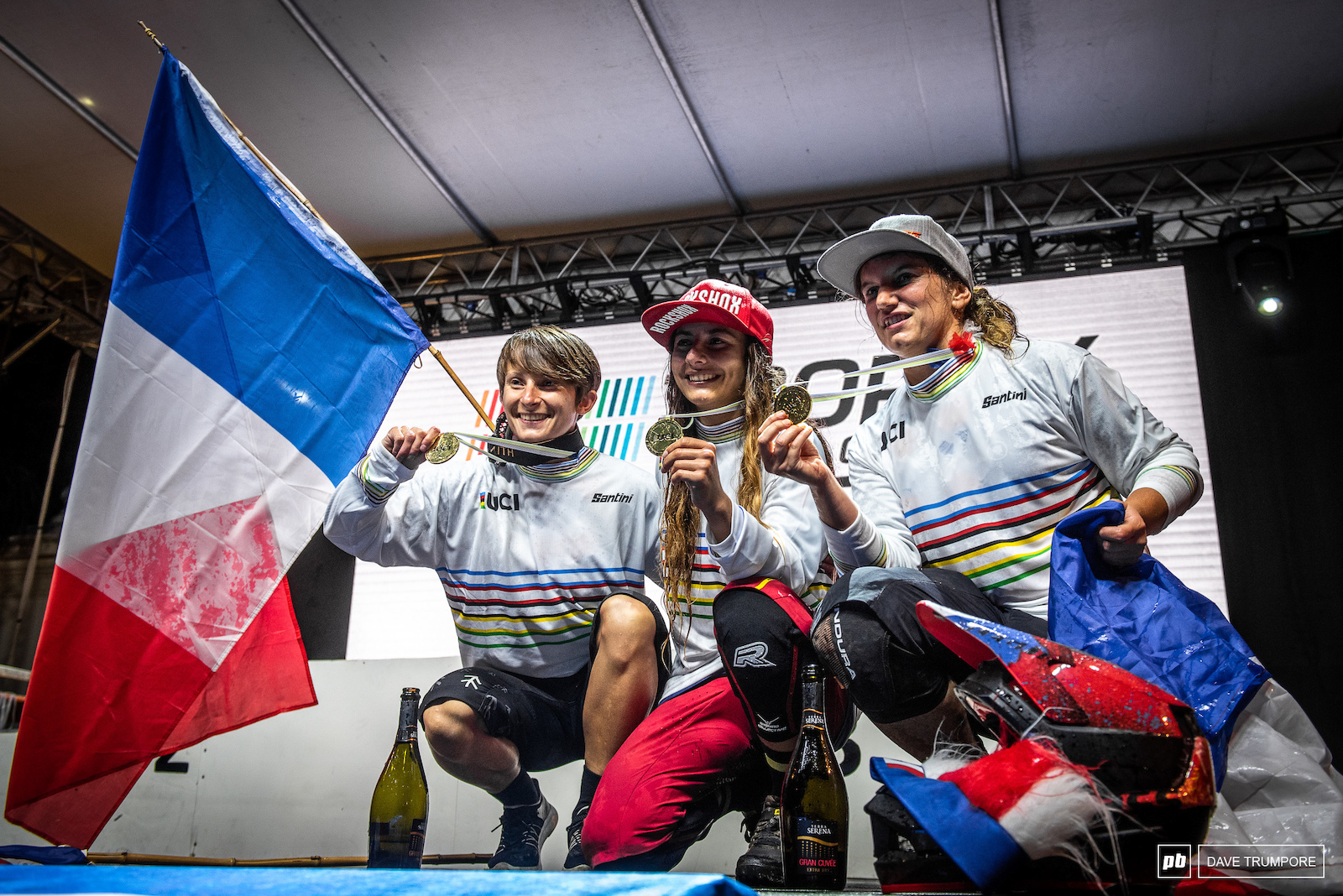 Isabeau Courdurier Melanie Pugin and Morgane Charre with the gold for France