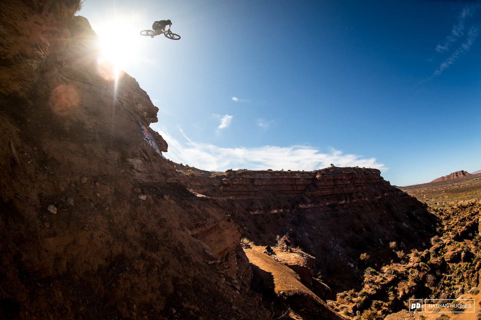 Cam Zink spotting his landing in the depths of the valley below.