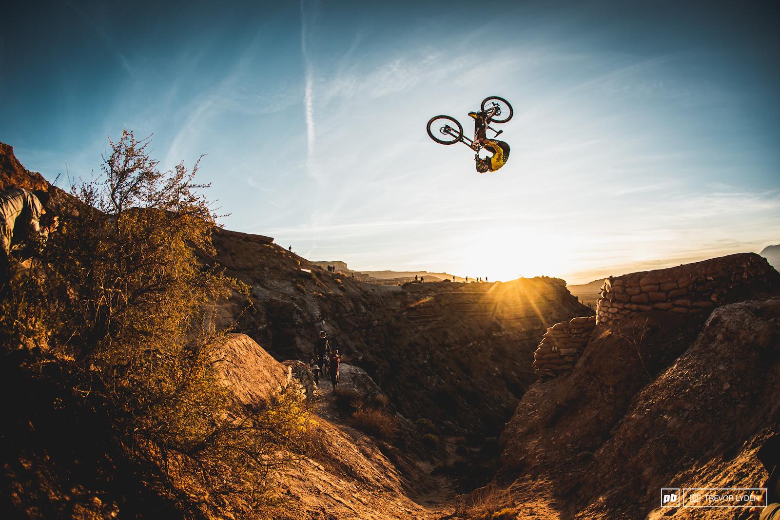 Cam Zink with gargantuan front flip over his canyon gap.