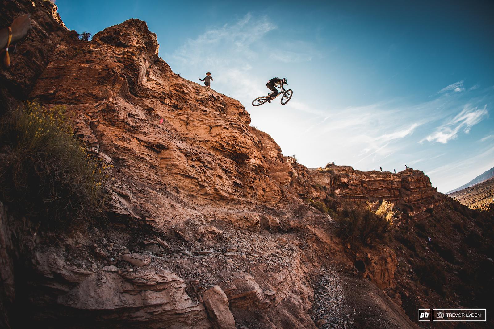 Reece Wallace taking flight on his massive lower drop.
