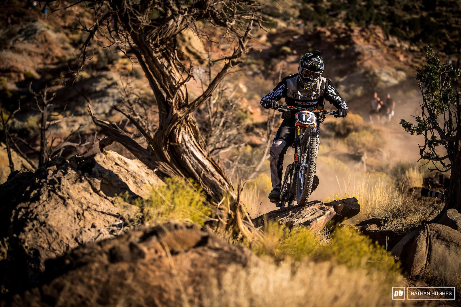 Brendan making his way down through some unfamiliar Rampage terrain en route to the canyon gap.