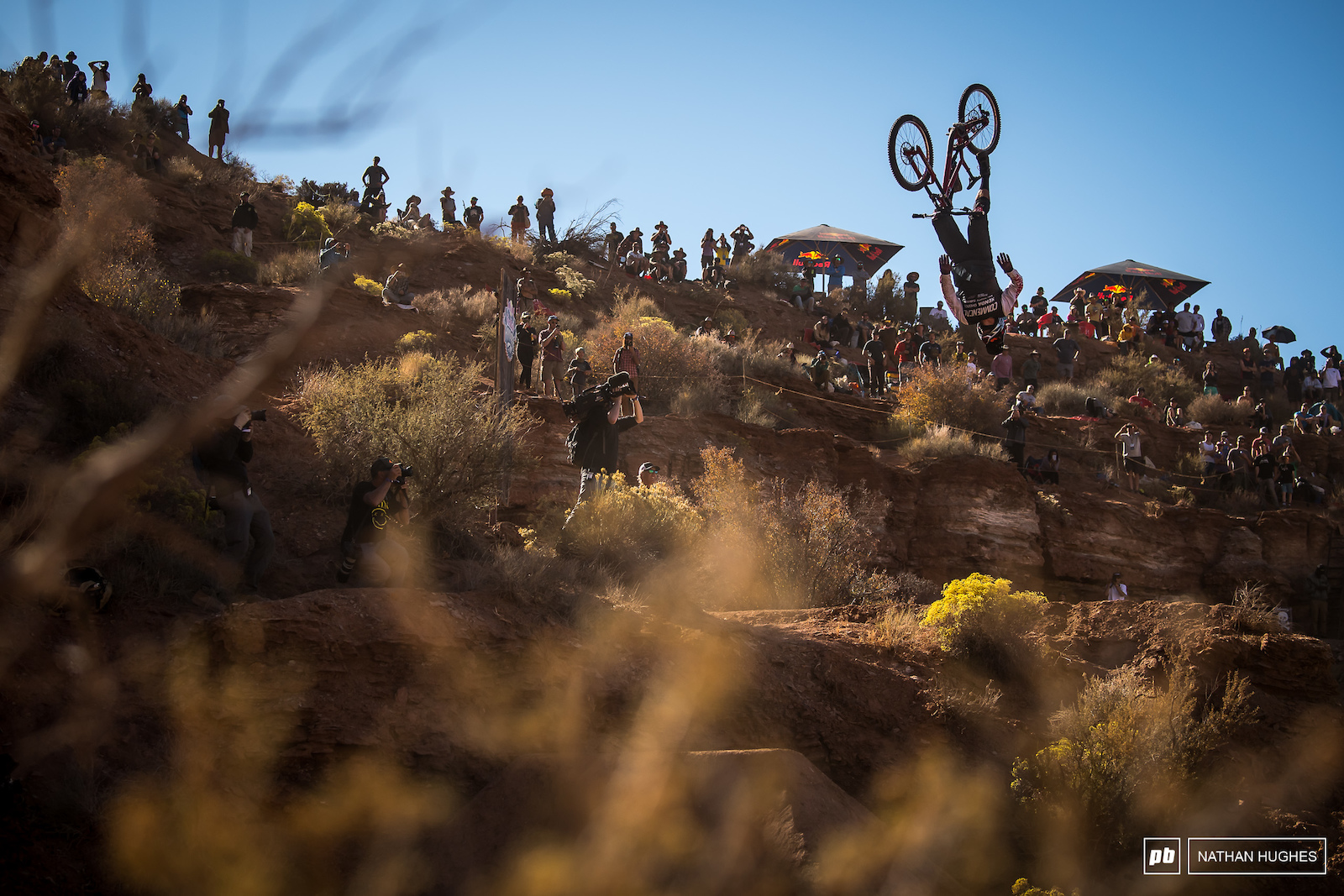 Kyle Strait came out swinging on his second run determined not to play it safe like the sticker on his top tube. Unfortunately a perfect looking backflip suicide went south and put an end to his 14th Rampage.