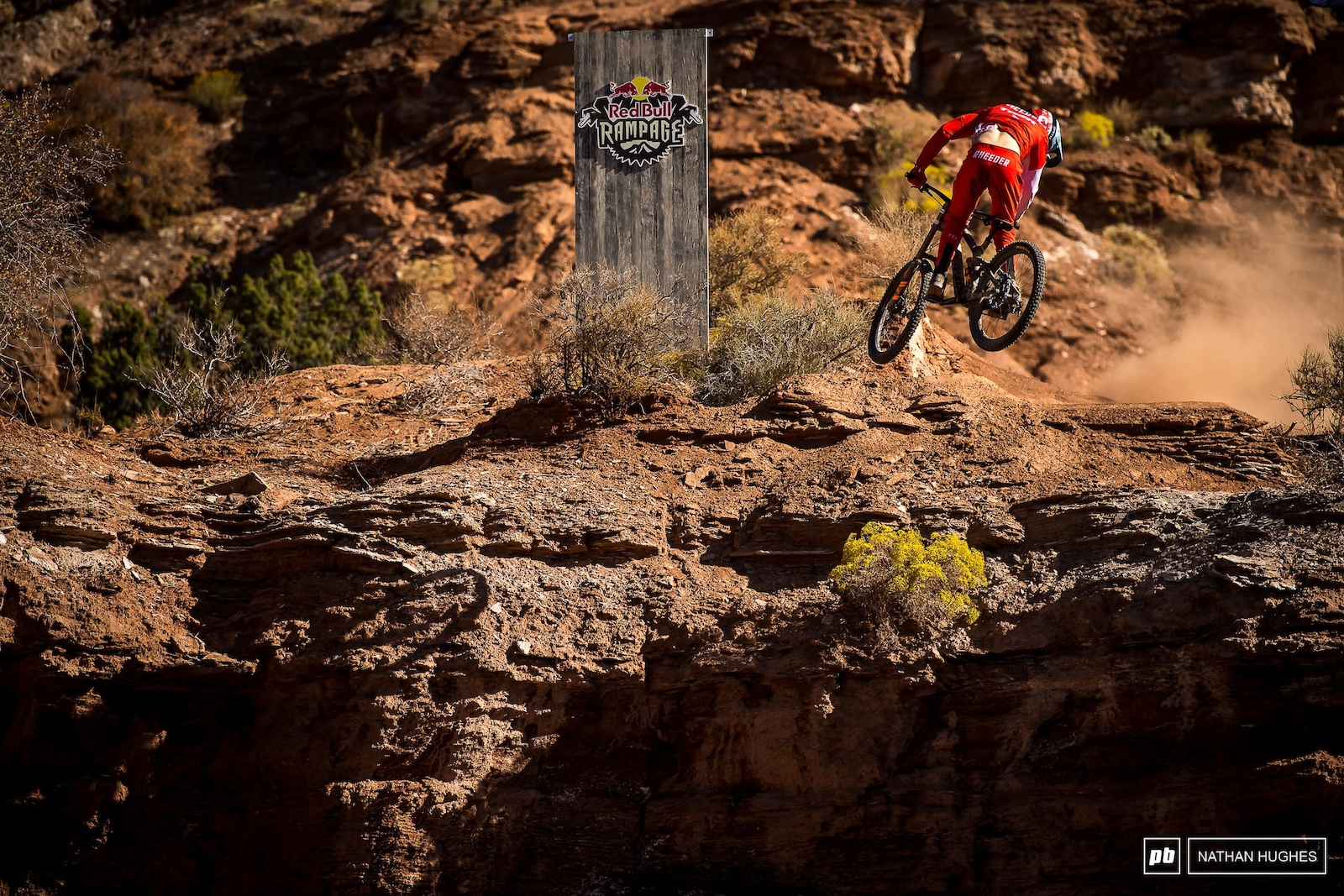 Rheeder spinning down into the finish area in front of the huge Rampage crowds.