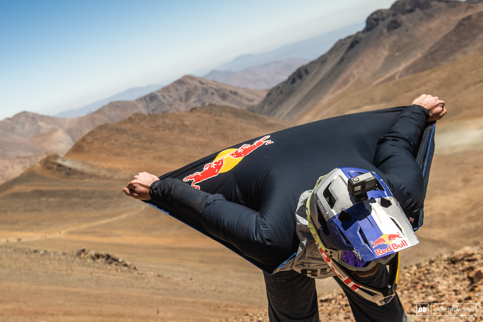 Greg Callaghan skipped the long hike a bike and just flew in on his Red Bull wing suit