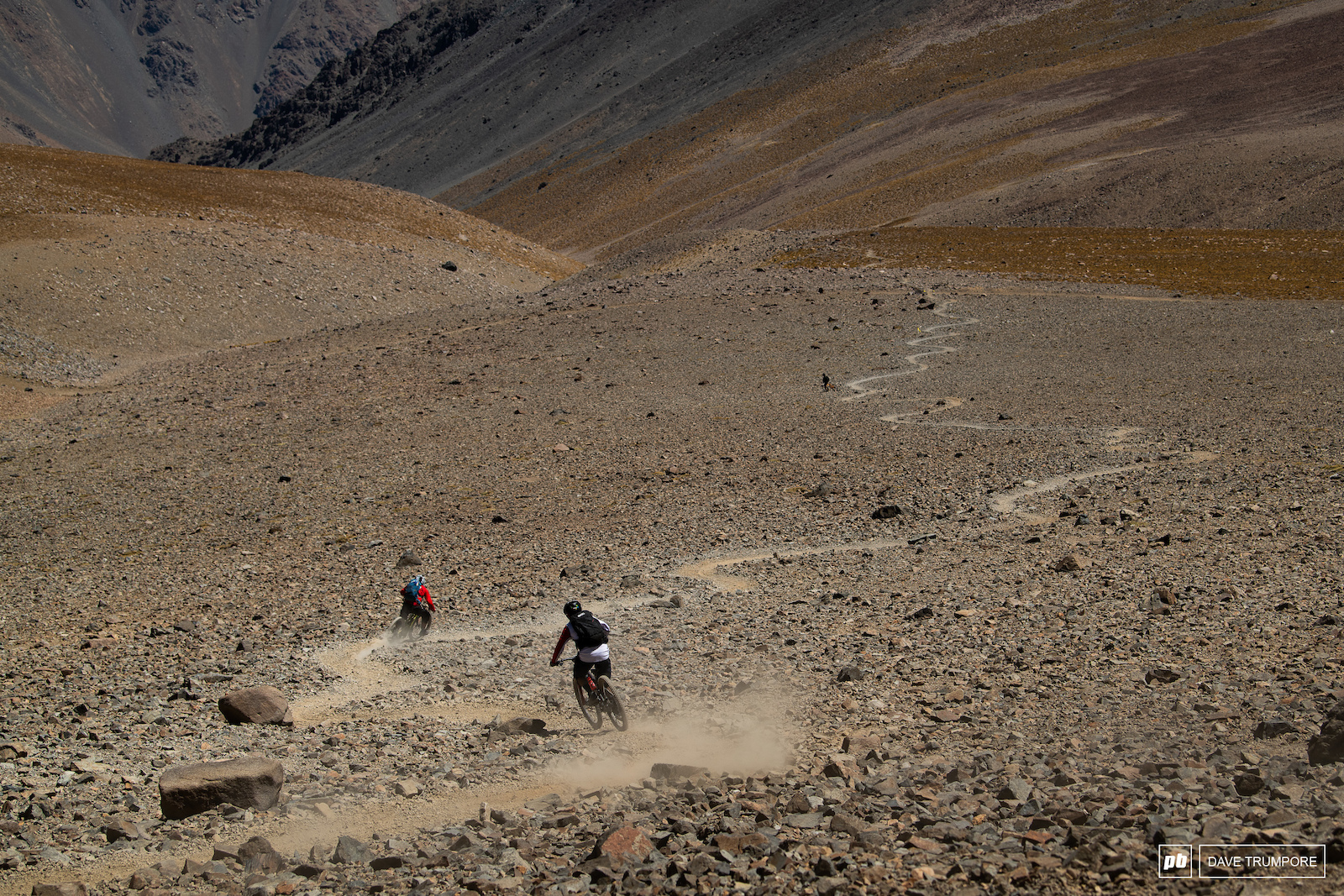 a few months ago this trail didn t even exist. No riders can drop in from the border with Argentina and ride almost 10 kilometers down into Chile.