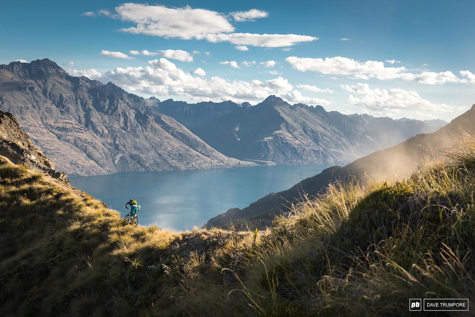 Joey Schusler above Fern Hill on the Missing Link Trail. Queenstown NZ