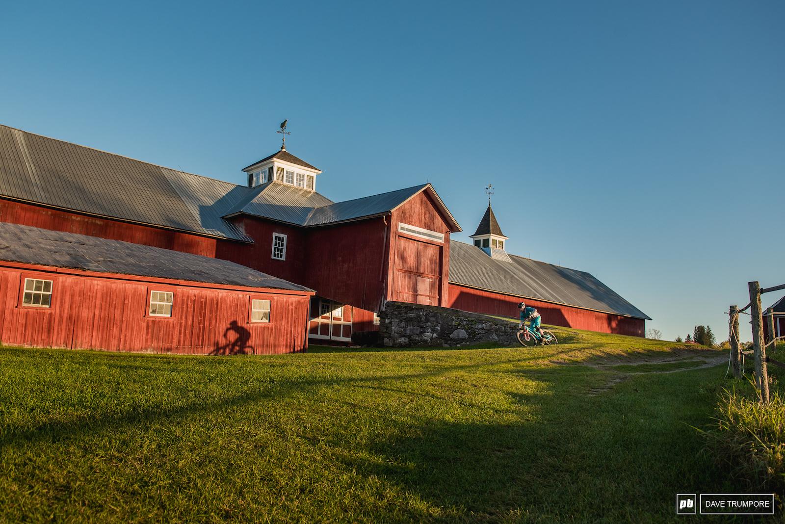 Adam Morse casting shadows against a quintessential Vermont background.