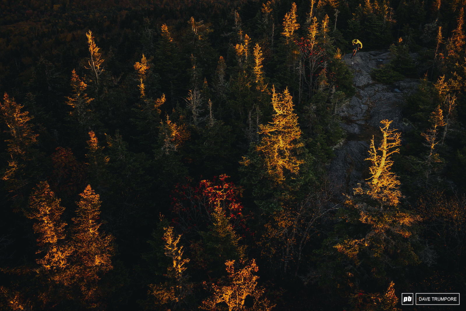 Jake Inger grabs the last sliver of light at the top of Burke Moutain in VT home of the Enduro World Series this coming August.