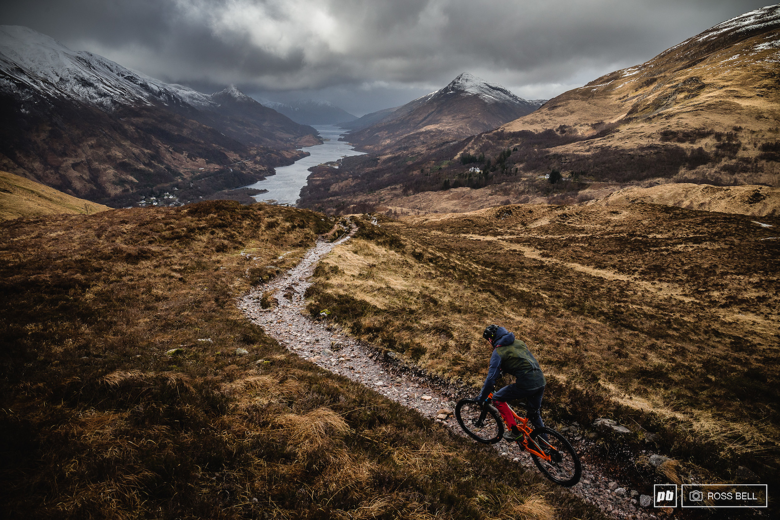 Scotty Laughland descends towards Kinlochleven in the Scottish Highlands.