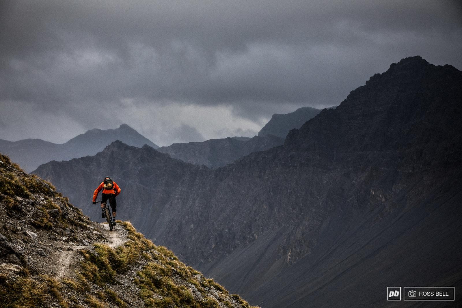 Thomas Vanderham pedalling through the peaks above Lenzerheide Switzerland.