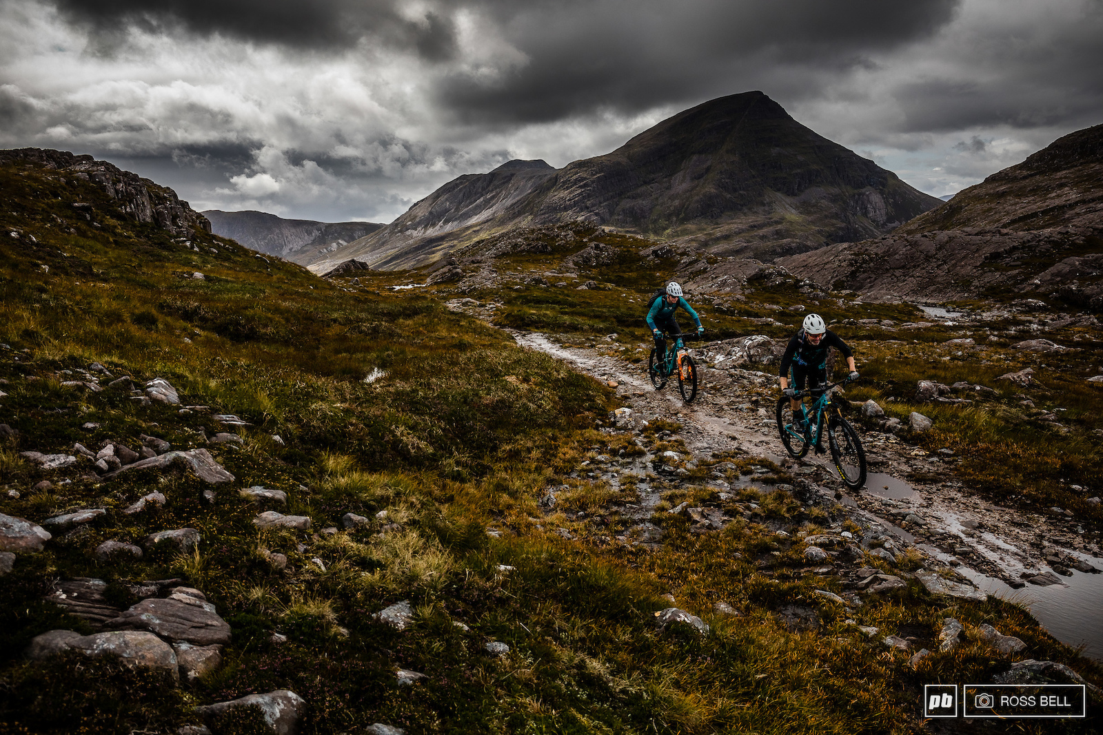 Chris Conroy and Euan Wilson enjoying some typically Scottish conditions in the Torridon hills.