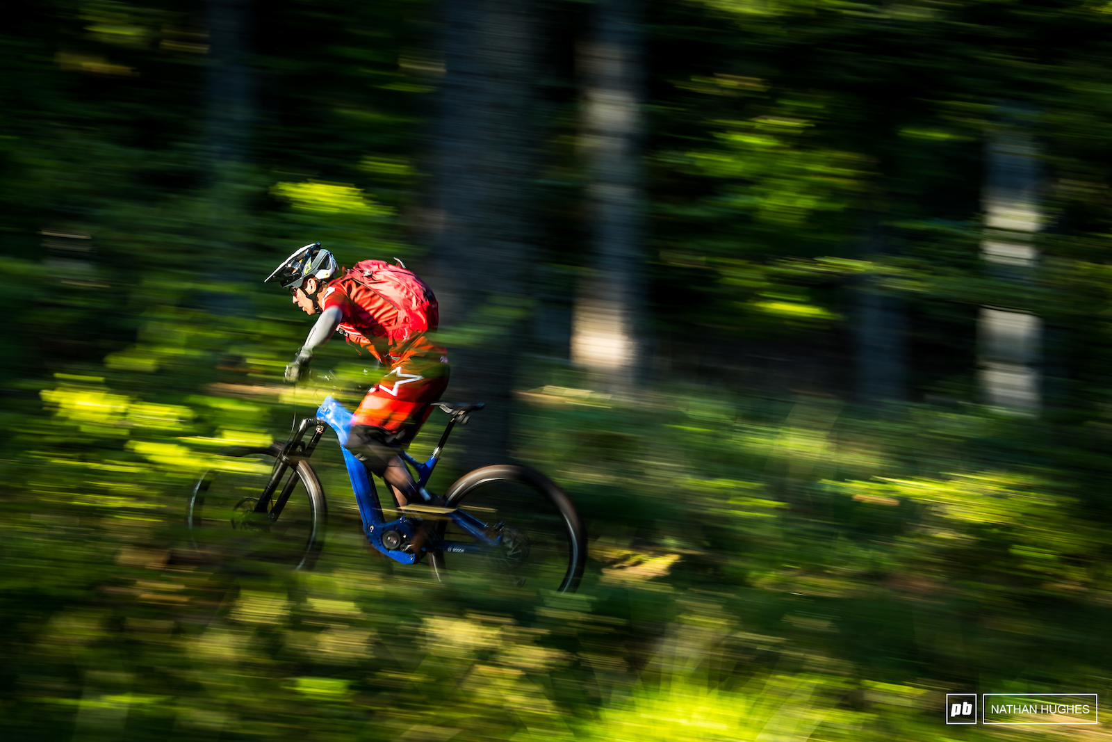 That s right... uphill pans. Now possible with some help from modern technology. Jerome Clementz flies through French forest.