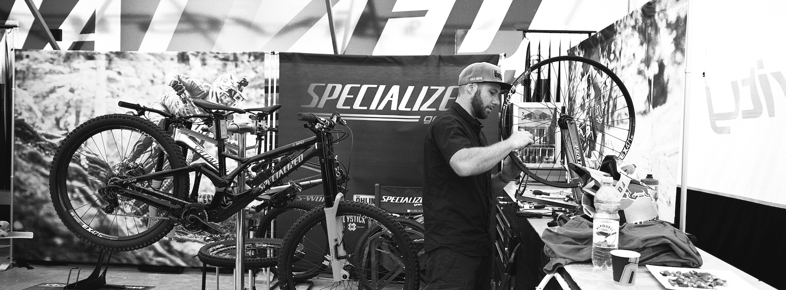 Finn s wheels getting some much needed love in the Specialized booth.