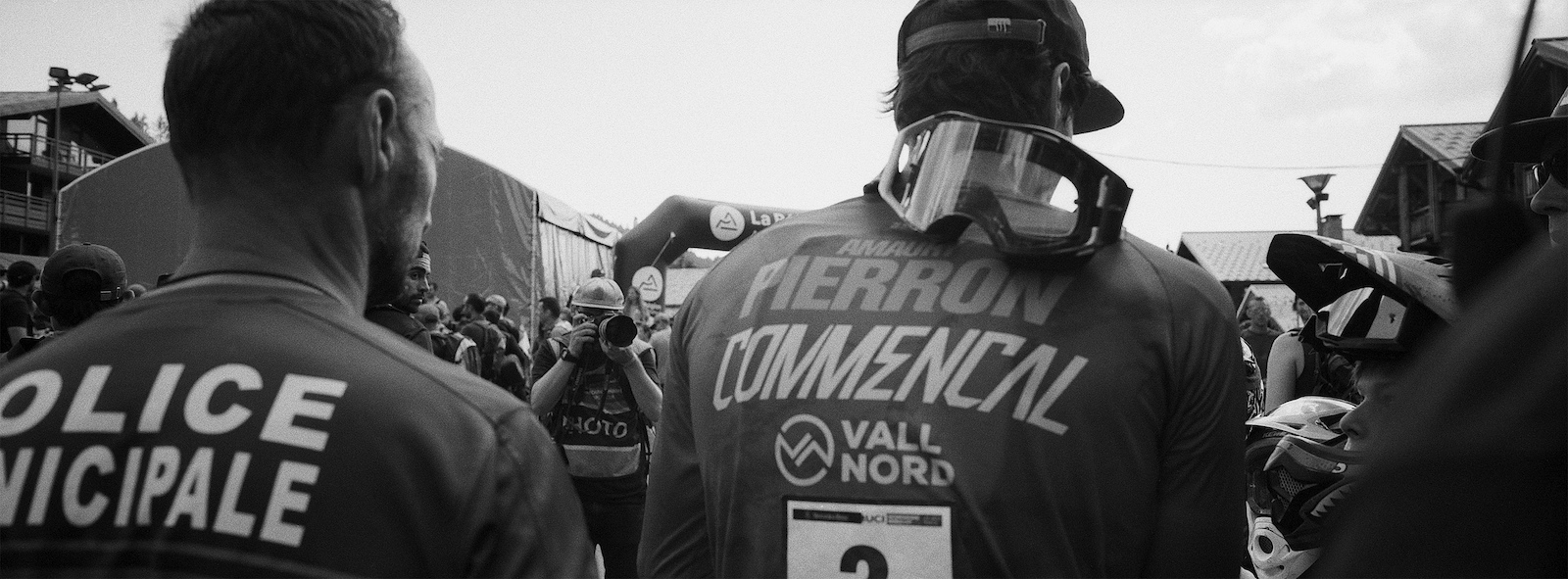 A police escort for Amaury Pierron after his huge win on French soil. The crowds were denser than a Beatles concert.