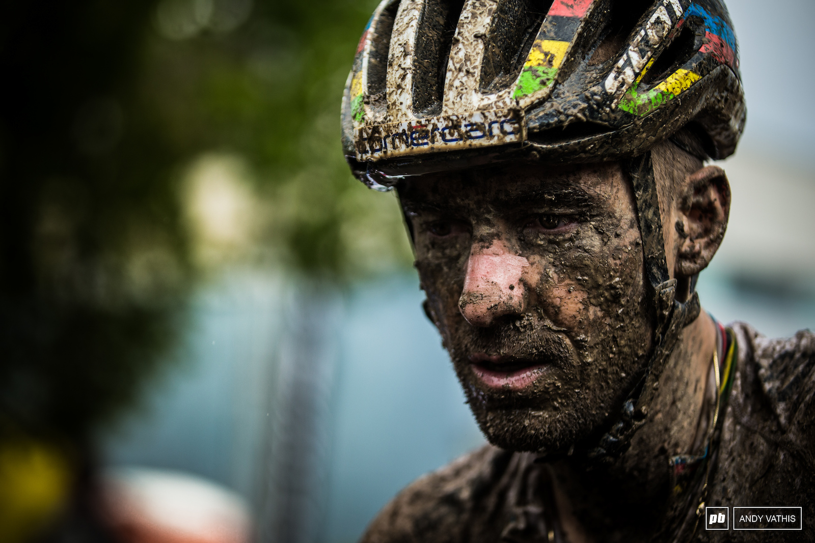 Nino Schurter s 1000 yard stare after going to war with the weather in Albstadt.