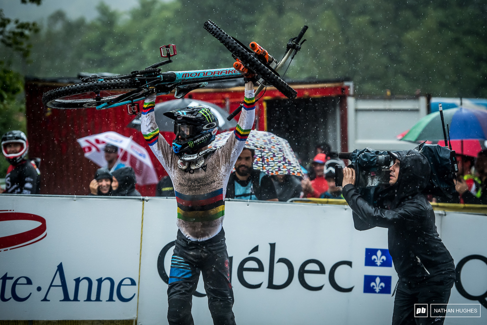 Dan the man almost doing the impossible at the 2017 wash-out in Mont Sainte Anne before Aaron Gwin had his say.