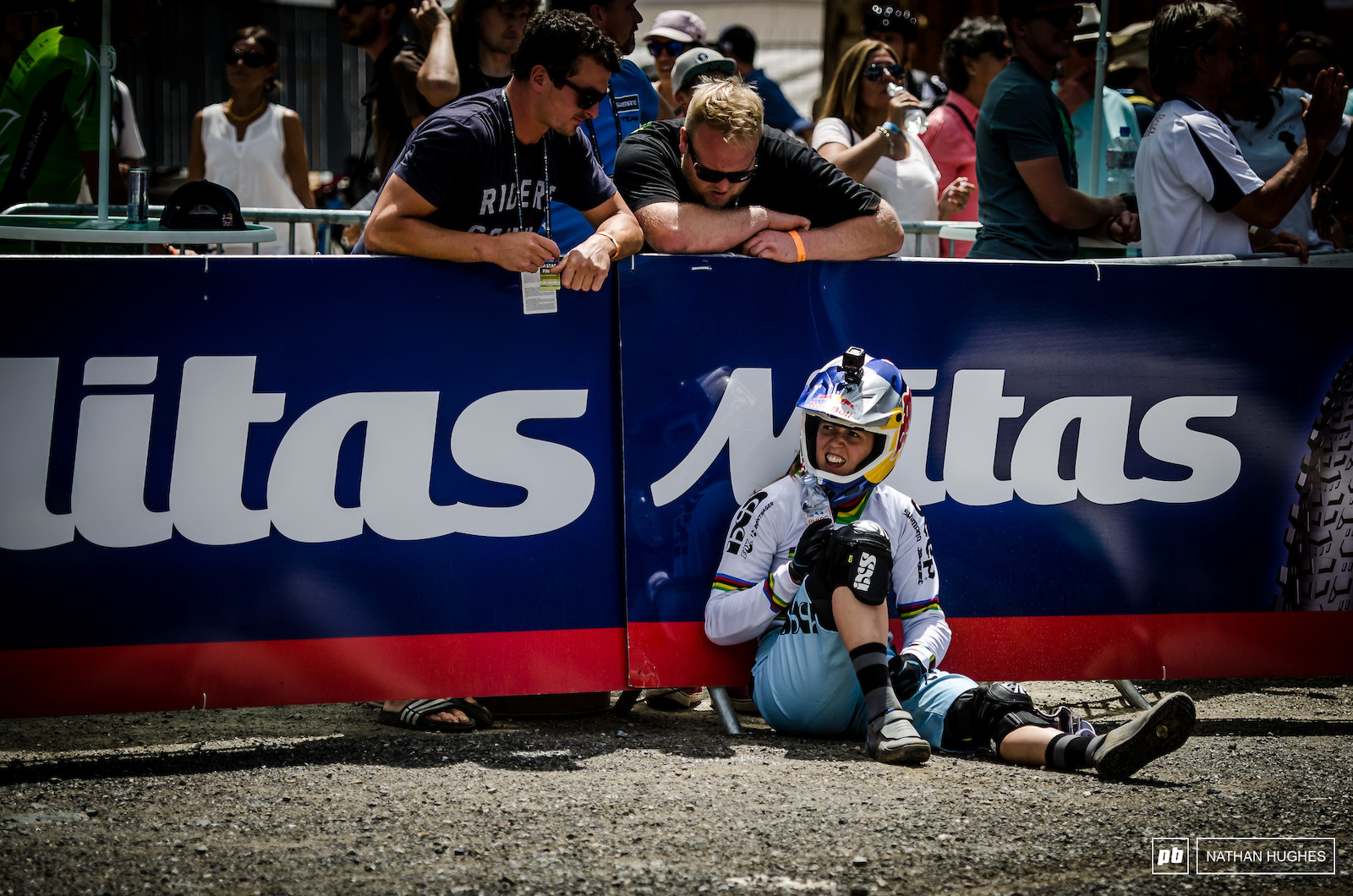 Atherton feeling beat at the end of her working day at Lenzerheide after coming in 2nd to Nicole.