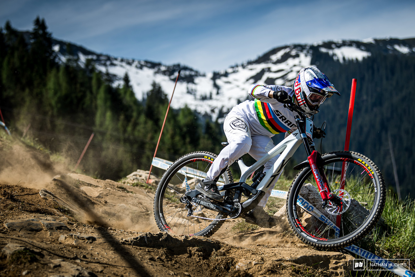 Vali Holl repping the rainbows on home soil in Leogang Austria 2019.