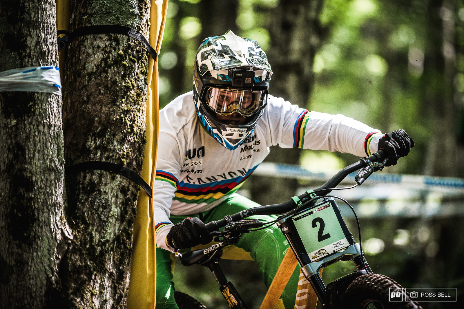 Kye A Hern keeping it tight to the trees in the World Champs jersey he won the previous weekend in Mont Sainte Anne.