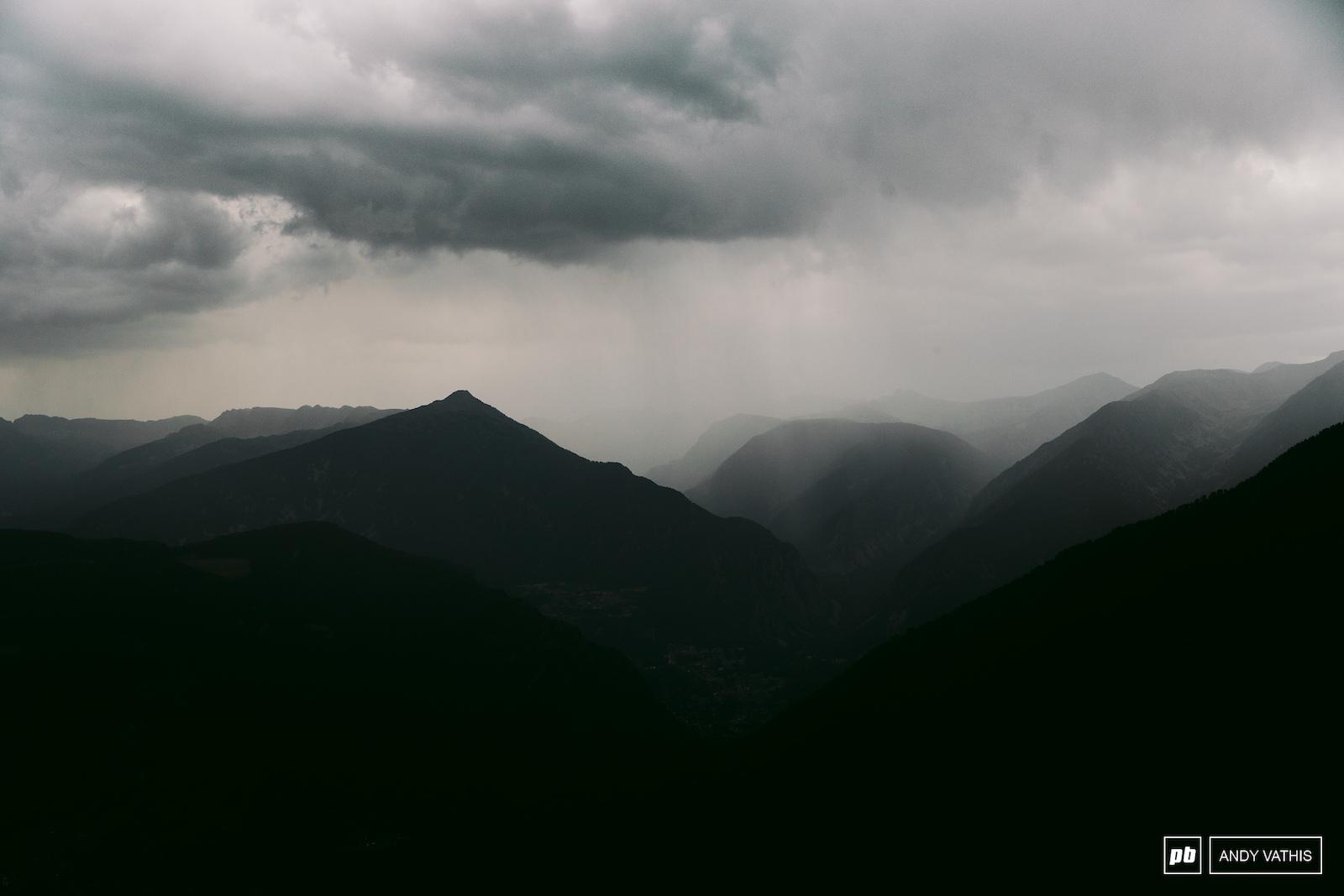 A late-afternoon rain shower blanketing La Massana.
