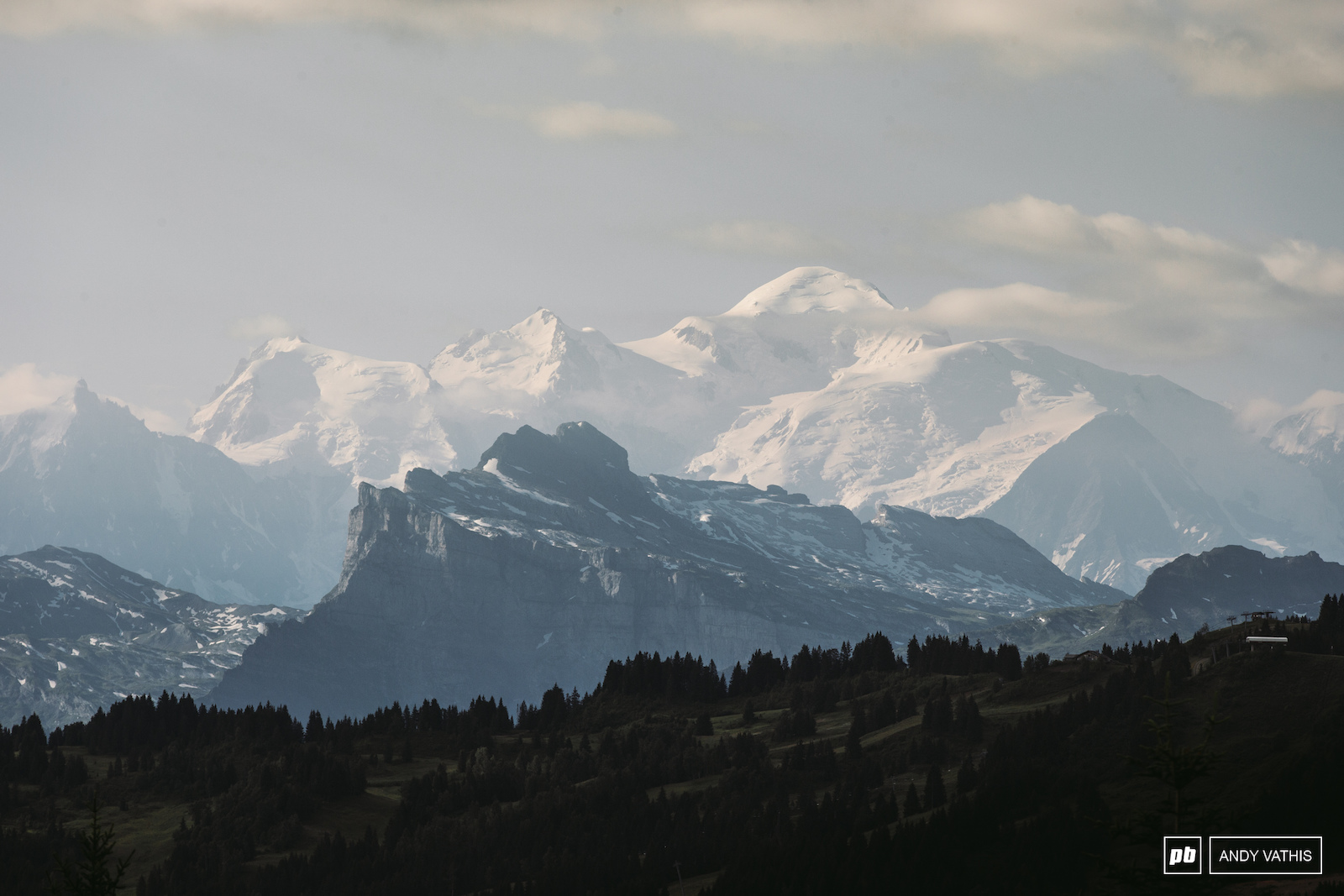 Mont Blanc towering over the French mountain range leading into Les Gets.