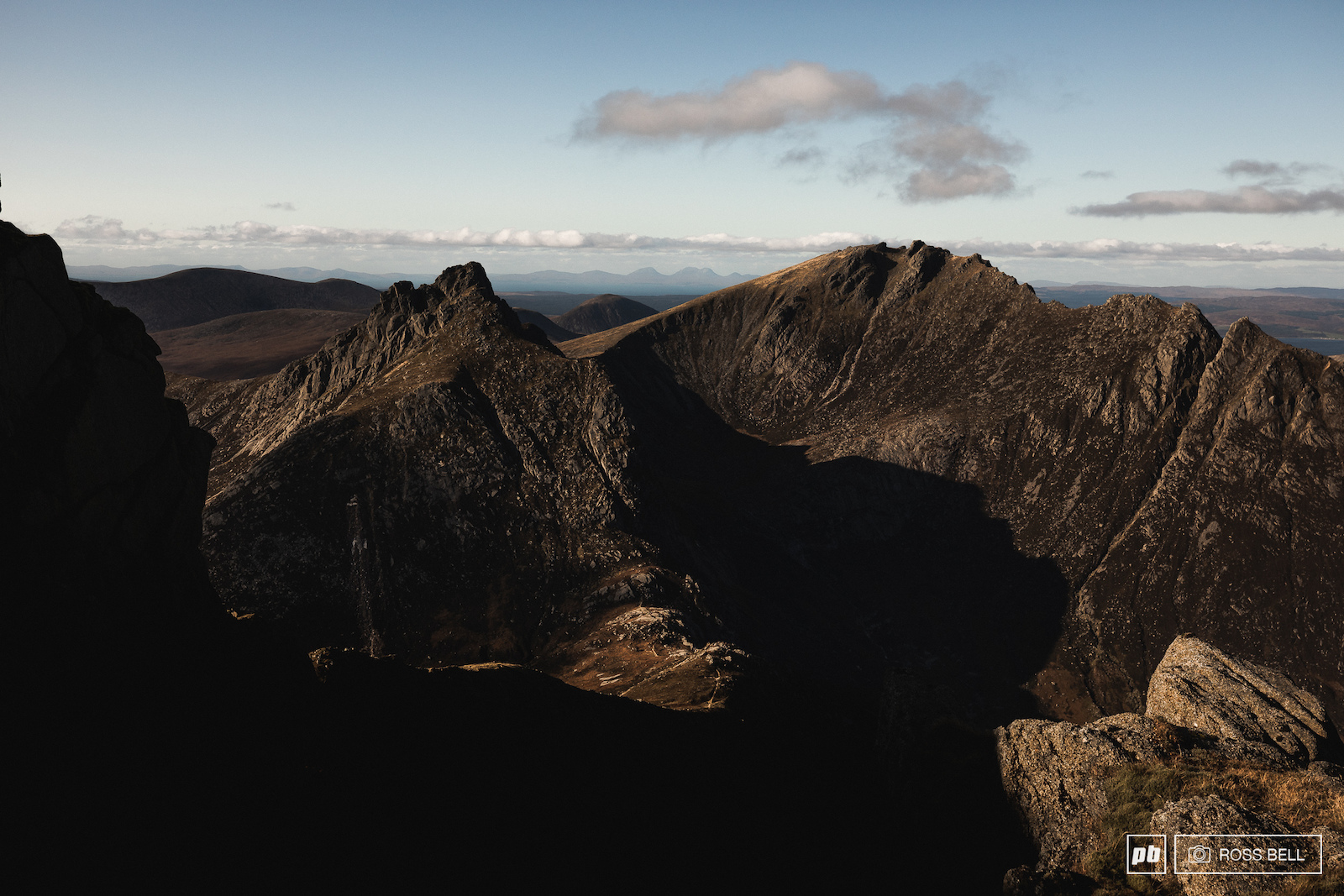 Looking across to Caisteal Abhail from Goat Fell on the Isle of Arran Scotland.
