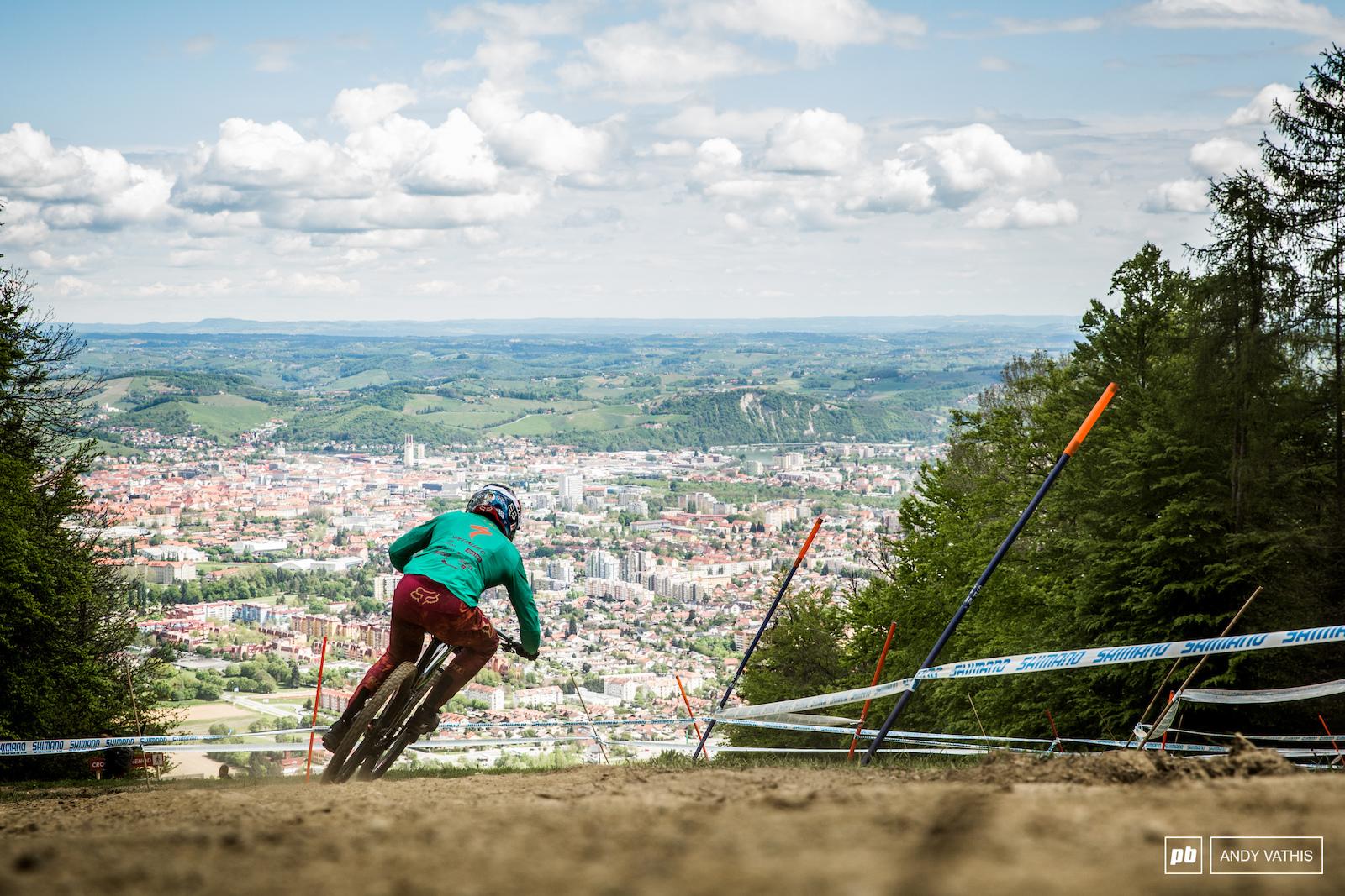 Loic Bruni racing down into Maribor.
