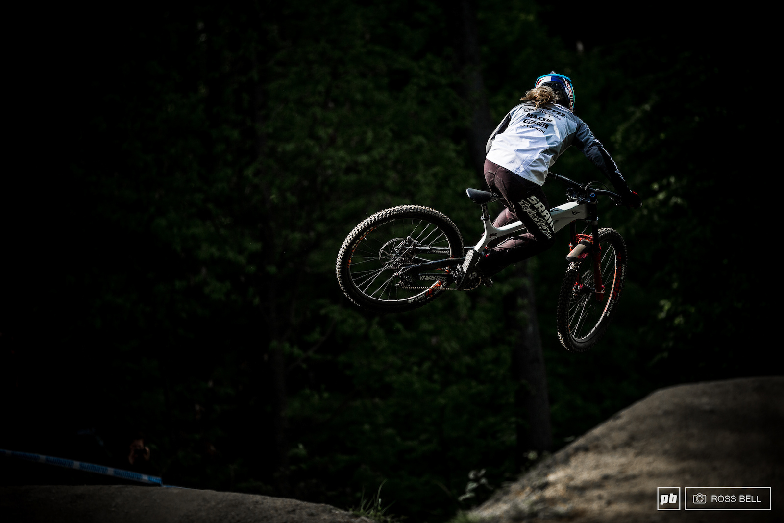 Vali Holl whipping her way into the dark of the woods towards the end of practice last year.