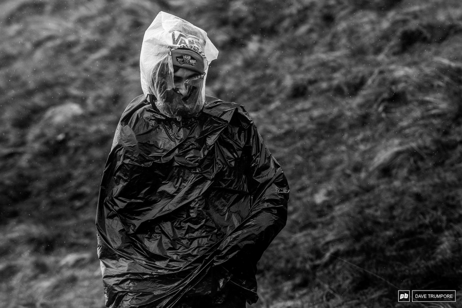 A trash bag kind of day in Fort William. Heavy rain cold temps and stinging wind meant a lot of spectators and media were caught out from not being prepared. Practice was canceled the following day as the weather went from bad to worse - 2015