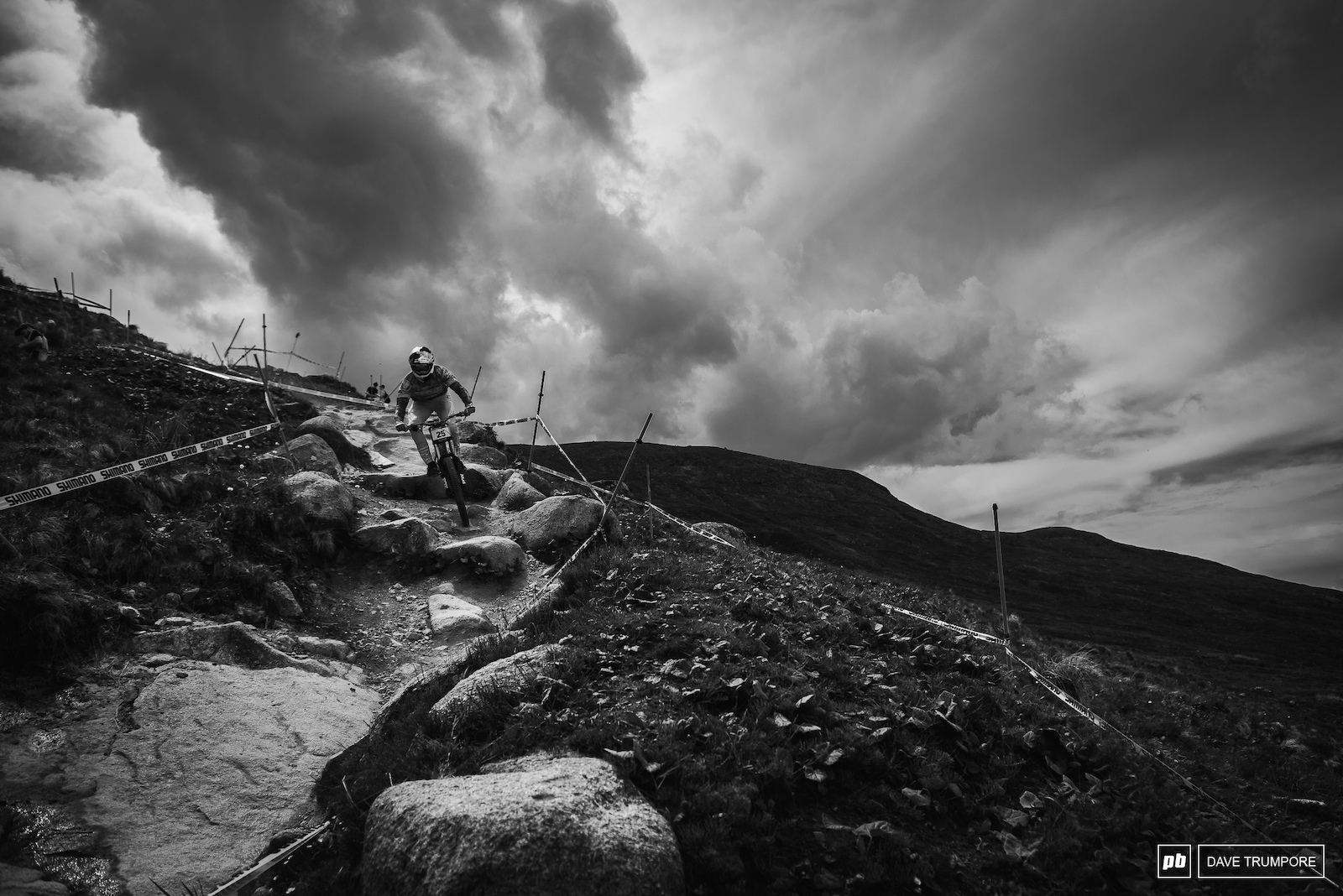 Gee Atherton outrunning the incoming storm - 2018