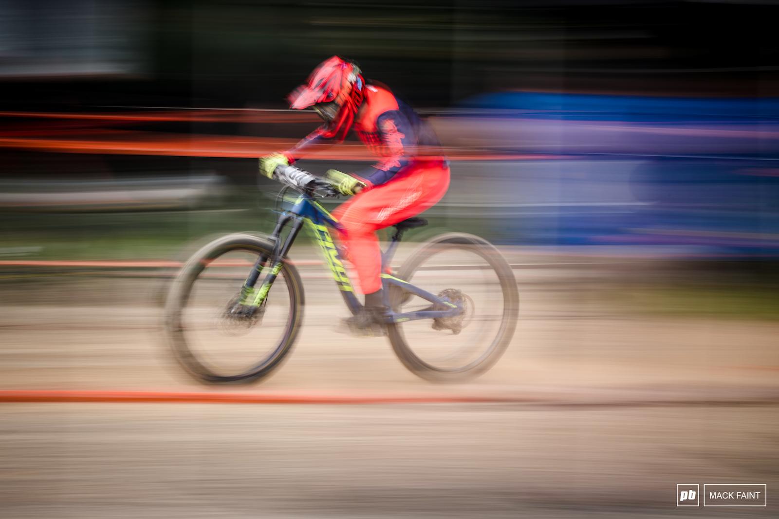 Sprinting through the finish.