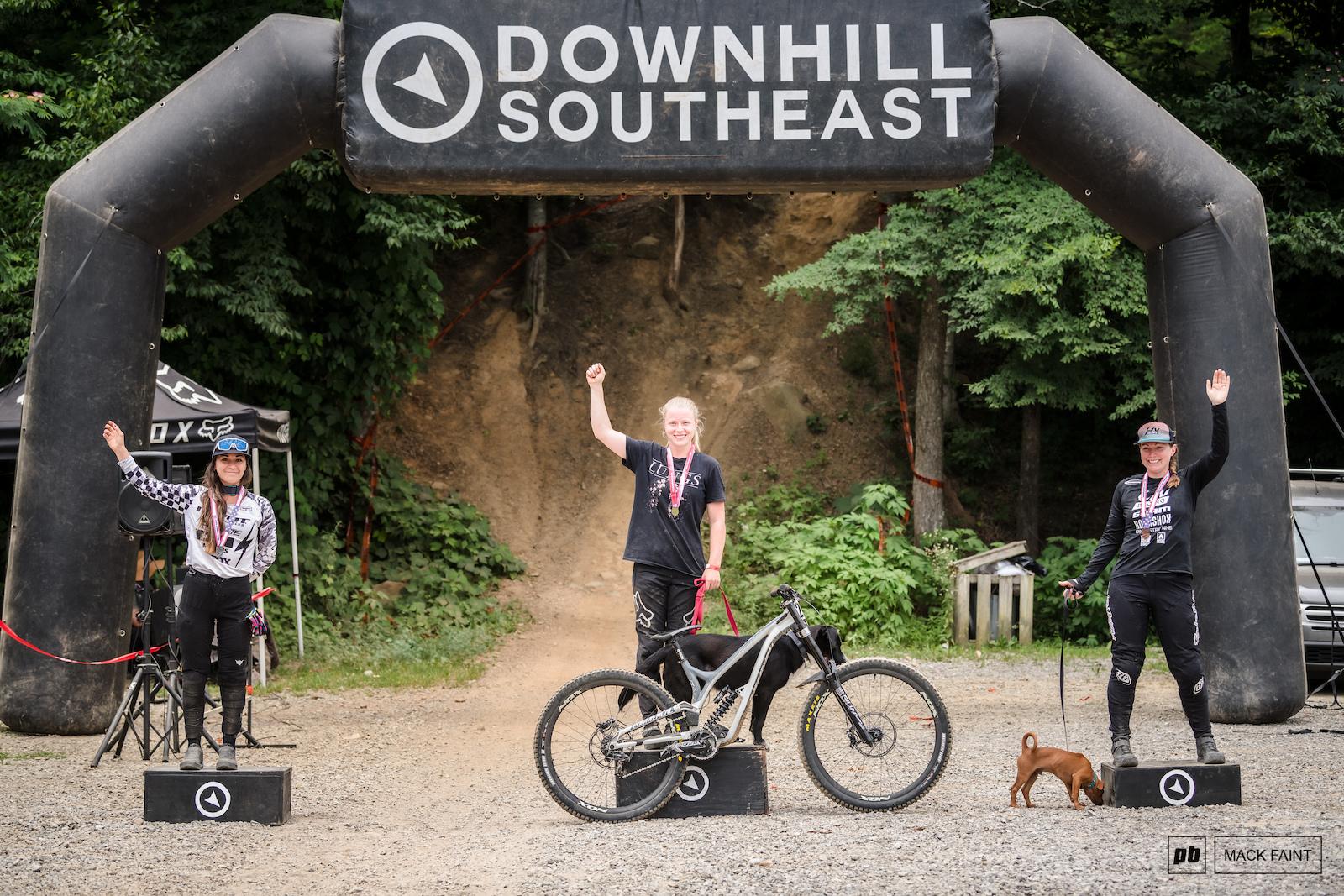 Womens Pro podium rachel must have missed the dog memo.