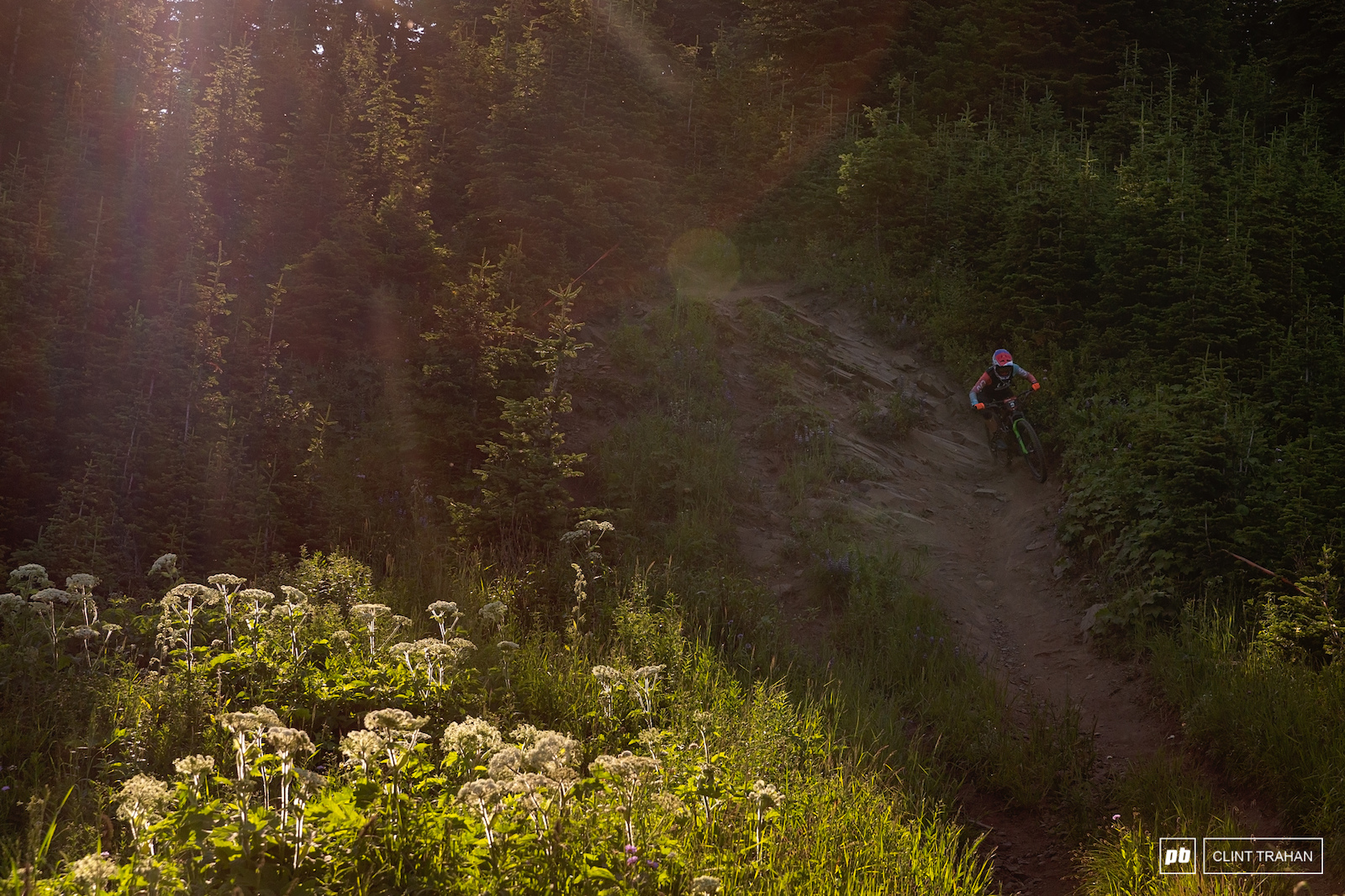 Leonia Pickton pushing through the gnarly features of Dags Downhill.