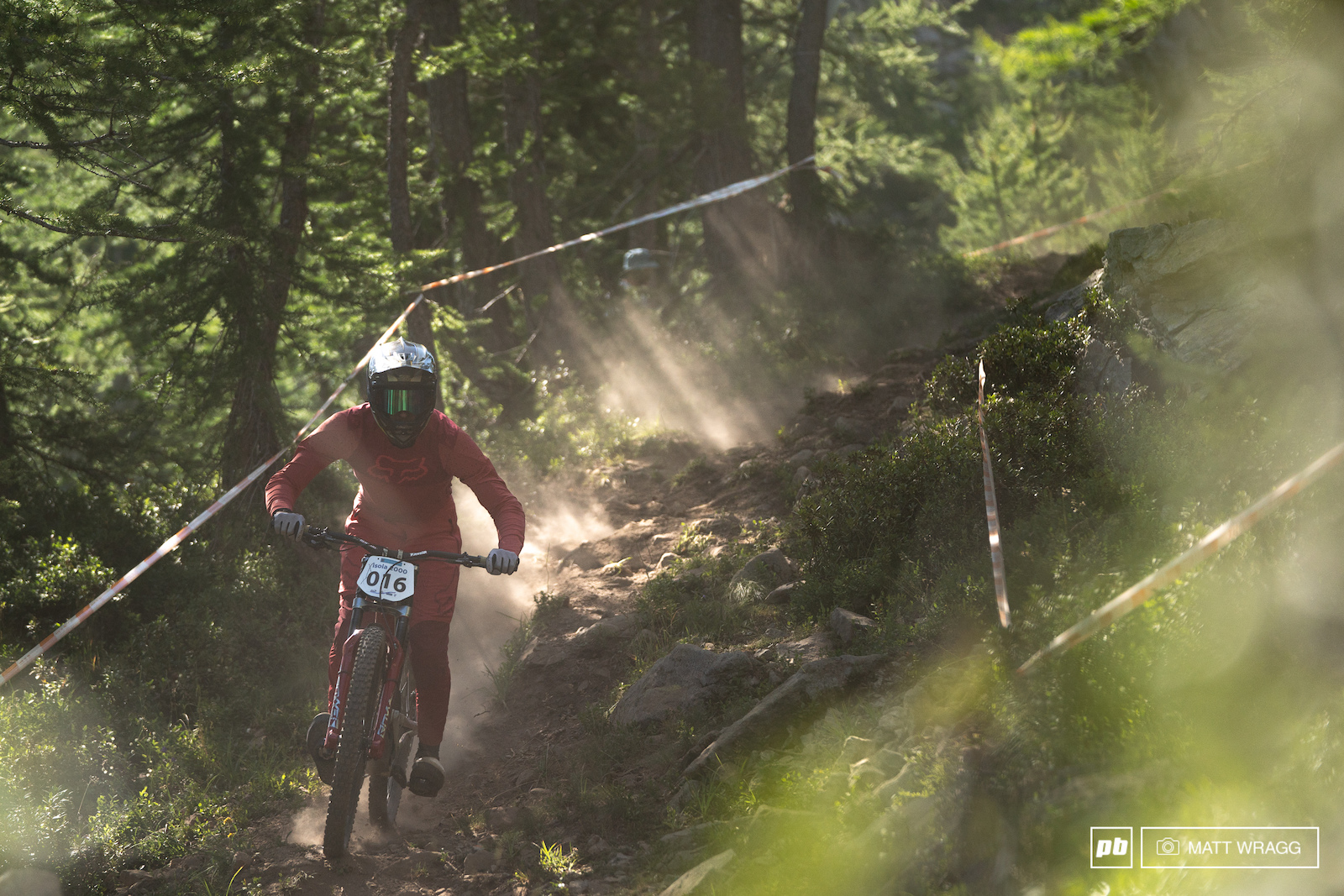 Tristan Belen kicking up dust amongst the trees.