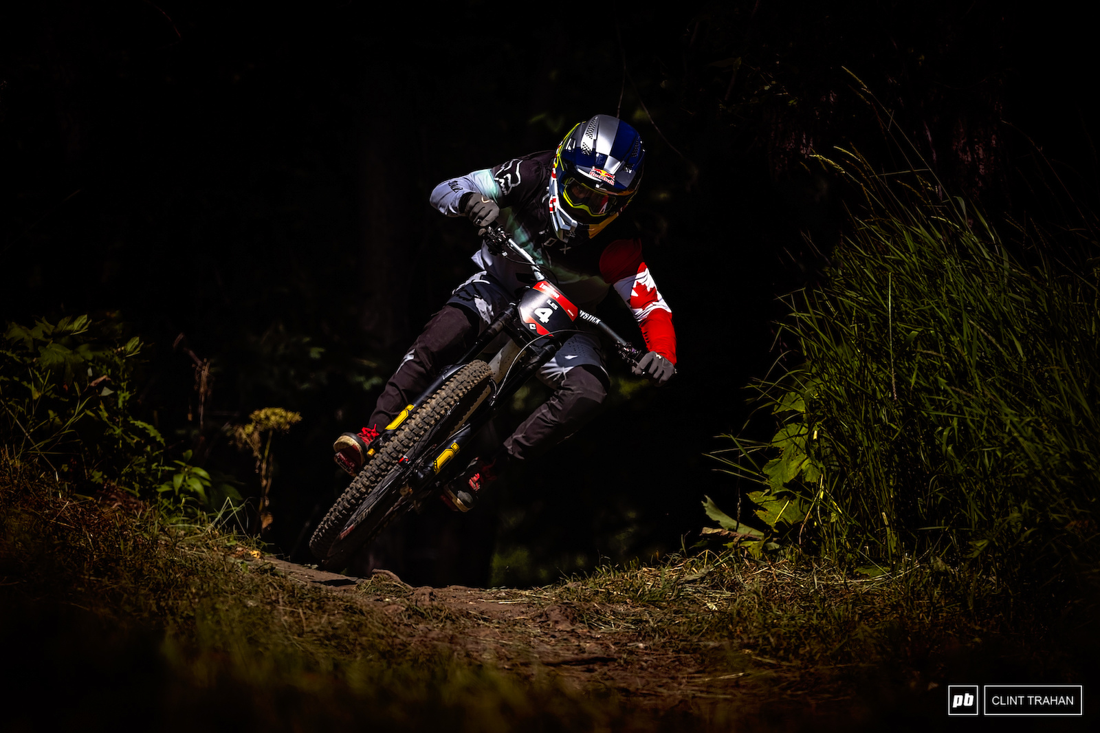 Finn Iles cutting his way to the DH win at Sun Peaks during CLIF Crankworx Summer Series.