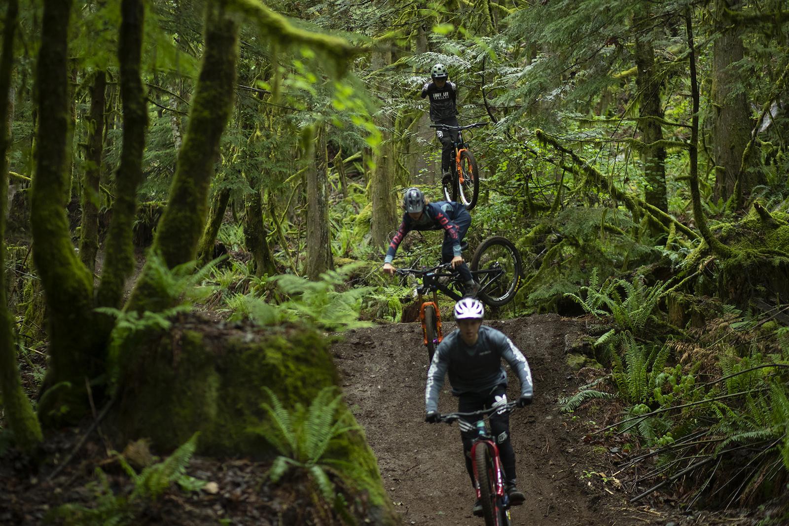 Dane Jewett with Jackson Goldstone and Jakob Jewett in Squamish British Columbia Canada